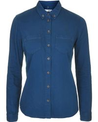 Topshop Moto Clean Fitted Denim Shirt - Lyst