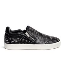 Ash 'Iman' Stud Leather Skate Slip-Ons black - Lyst