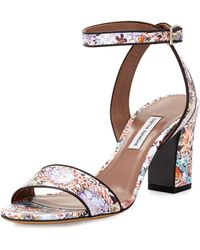 Tabitha Simmons Leticia Floral-print Leather Sandal - Lyst