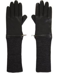 BCBGMAXAZRIA - Zip-Apart Leather And Knit Gloves - Lyst