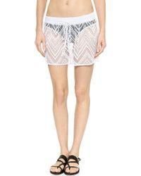 Milly Gathered Crochet Shorts - White - Lyst