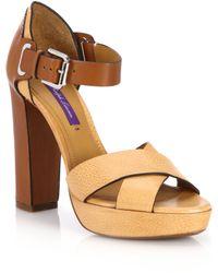 Ralph Lauren | Bicolor Leather Platform Sandals | Lyst