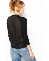 Asos Jumper with Vneck and Sheer Back - Lyst