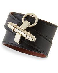 Givenchy Calfskin Leather Wrap Bracelet - Lyst