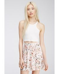 Forever 21 Button-Front Floral Mini Skirt - Lyst