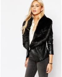 Oasis | Faux Fur Collar Real Leather Biker Jacket | Lyst