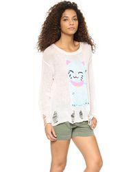 Wildfox Fat Cat Lenon Sweater Vintage Lace - Lyst