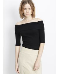 Vince | Skinny Rib Off-the-shoulder Elbow Sleeve Pullover | Lyst