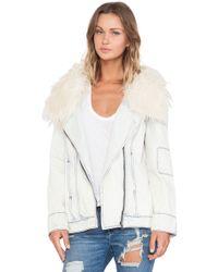 Somedays Lovin - Scando Rigid Denim Coat With Faux Fur Collar - Lyst