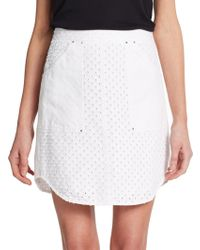 Rebecca Taylor Punched Denim Skirt - Lyst