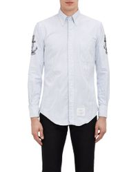 Thom Browne Embroidered-sleeve Oxford Shirt - Lyst