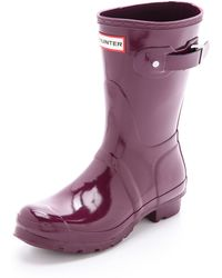 Hunter Original Short Gloss Boots Bright Coral - Lyst