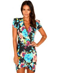 Missguided Linete Floral Print Wrap Dress - Lyst