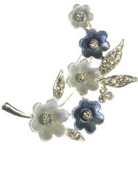 Indulgence Jewellery - Blue And White Painted Flower Brooch - Lyst