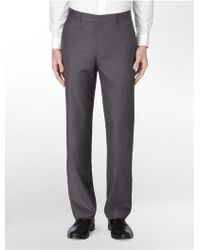 Calvin Klein Straight Fit Heathered Twill Dress Pants - Lyst