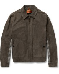 Missoni Suede and Crochet-knit Paneled Bomber Jacket - Lyst