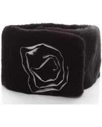 Chanel Pre-owned Rabbit Fur Silk Flower Stole - Lyst