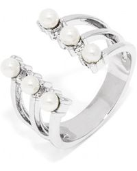 BaubleBar Pearl Crown Ring-Silver - Lyst