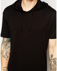 Asos Longline T-shirt with Hooded Skater Fit - Lyst