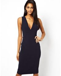 Asos Pencil Dress with Plunge Neck and Pockets - Lyst