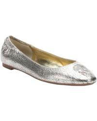 Alexander McQueen Metallic Gold Crinkled Leather Sequined Skull Ballet Flats - Lyst