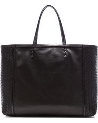 Bottega Veneta Black Leather Tote - Lyst