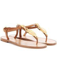 Valentino Embellished Leather Sandals - Lyst