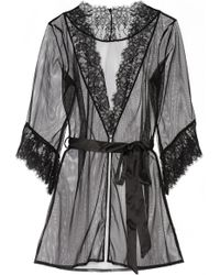 L'Agent by Agent Provocateur - Idalia Lace-Trimmed Tulle Robe - Lyst