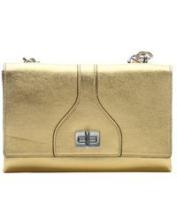 Prada Metallic Gold Leather Dual Fold Over Flap Chainlink Shoulder Bag - Lyst