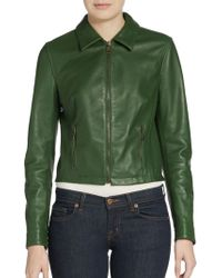 Dolce & Gabbana Cropped Leather Zip Jacket - Lyst