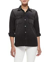 Current/Elliott The Perfect Stud-shoulder Shirt - Lyst