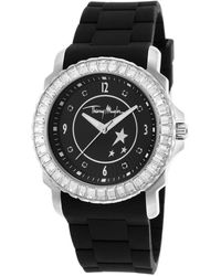 Thierry Mugler Womens Black Rubber White Crystal Encrusted Bezel Black Dial - Lyst