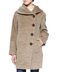 Sofia Cashmere Asymmetric Button-front Tweed Coat beige - Lyst
