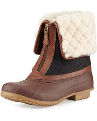 Tory Burch Abbott Shearling-cuff Duck Boot - Lyst
