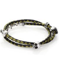 King Baby Studio Thin-braided Double Wrap Leather Bracelet - Lyst
