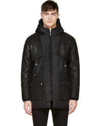 Pyer Moss Black Hooded Leather Sleeve Robby Parka - Lyst