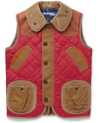 Junya Watanabe Quilted Nylon Corduroy and Leather Gilet - Lyst