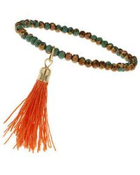 Topshop Faceted Bead And Tassel Bracelet - Lyst