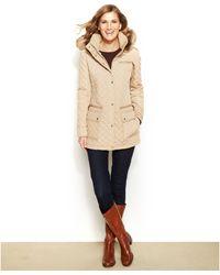 Calvin Klein Faux-fur-trim Puffer Coat - Lyst