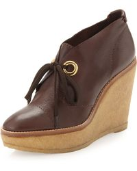 Andrew Stevens Platform Wedge Ankle Boots Brown - Lyst