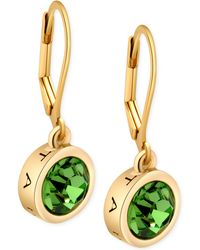 T Tahari - Gold-Tone Green Crystal Signature Drop Earrings - Lyst
