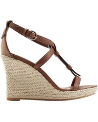 Burberry Wedland Leather And Raffia Wedges brown - Lyst