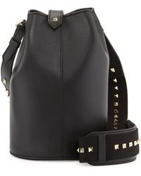 Valentino Rockstud Leather Bucket Bag - Lyst