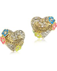 Juicy Couture - Pave Heart and Flower Stud Earring - Lyst
