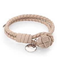 Bottega Veneta Woven Leather Double-Row Bracelet beige - Lyst
