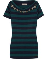 Burberry Brit - Embellished Striped Cotton-Jersey Top - Lyst