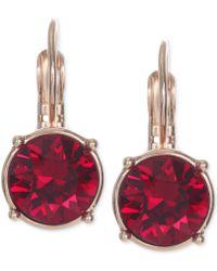 Nine West Gold-tone Crystal Stone Drop Earrings - Lyst