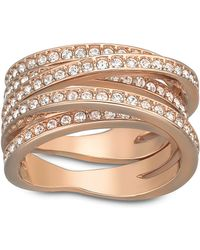 Swarovski Spiral Crystal And Rose Gold-Tone Ring Size 8 - Lyst