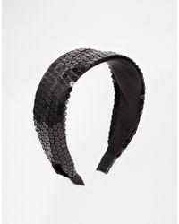 Asos Black Sequin Headband - Lyst