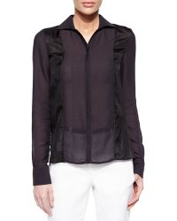 Halston Heritage Long-Sleeve Paneled Shirt - Lyst